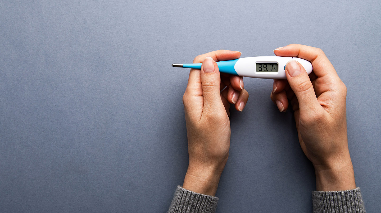 Fieber erkennen und richtig behandeln: : Frauenhände mit Fieberthermometer.